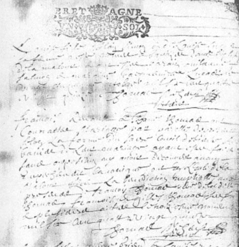 Acte de mariage de François Renault et Jeanne Thomas, le 3 novembre 1695.