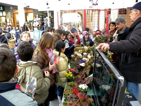 CREMA Festa degli Alberi Studenti davanti al gazebo del Gruppo micologico
