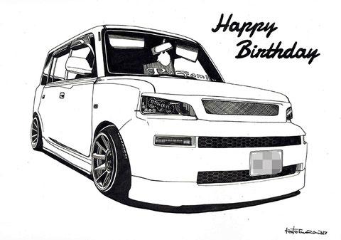トヨタBbの車絵イラストアート