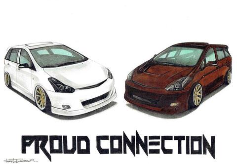 2台の車イラスト絵