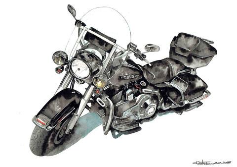 ハーレーダビッドソンのバイク絵イラスト