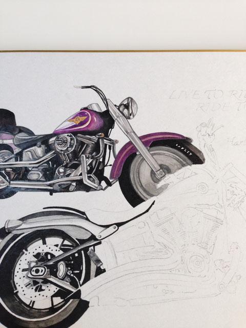 バイクのイラストアート