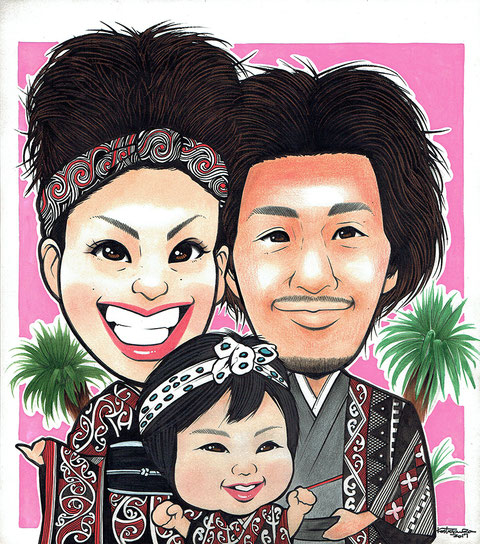 マオリ模様 家族の似顔絵
