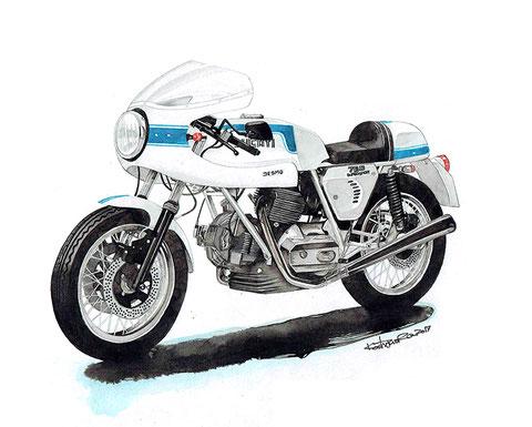 バイク絵イラストアート ドゥカティ750ss
