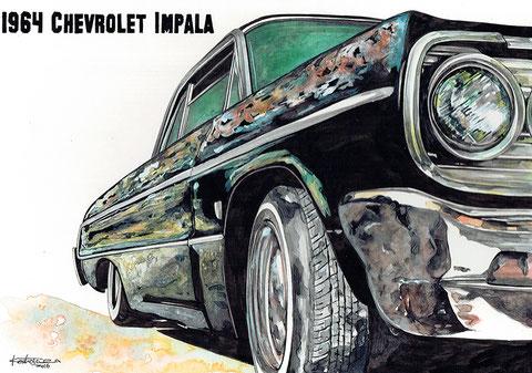 インパラの絵 車の絵