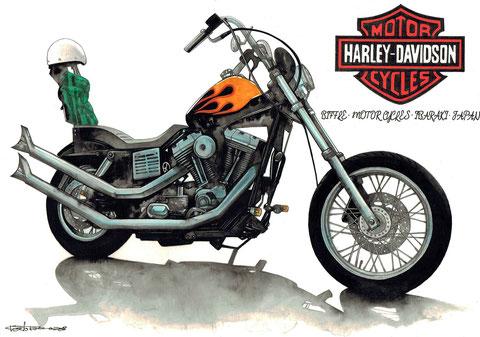 ハーレーのバイク絵イラスト