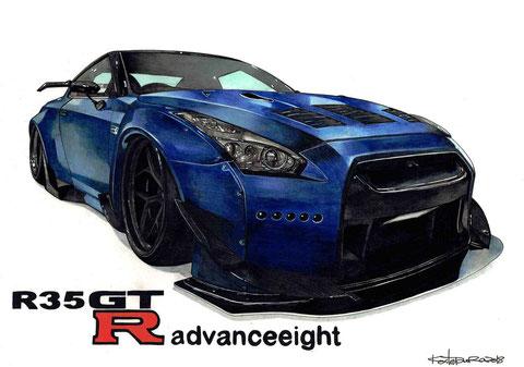 GTRの車絵イラストアート