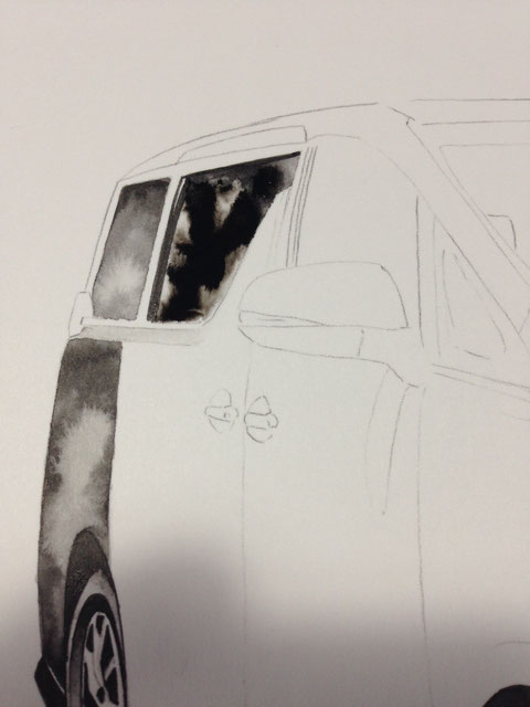 車のイラストアート制作中