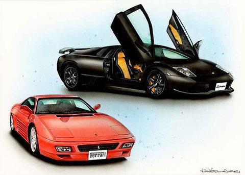 フェラーリとランボルギーニのイラスト絵