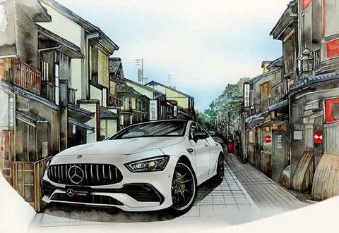AMG-GT53と京都祇園のイラスト絵