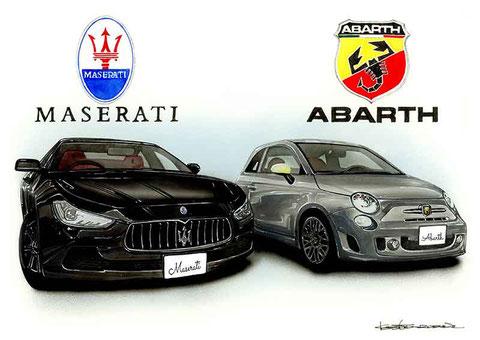 Maserati Ghible&Abarth595の手描きイラスト