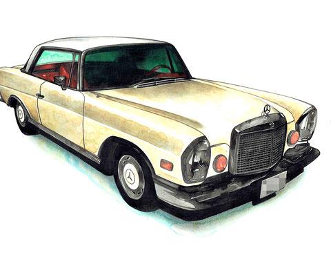 メルセデスベンツ280c 車絵イラストアート