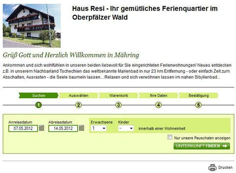 Online Buchung Ferienhaus Resi