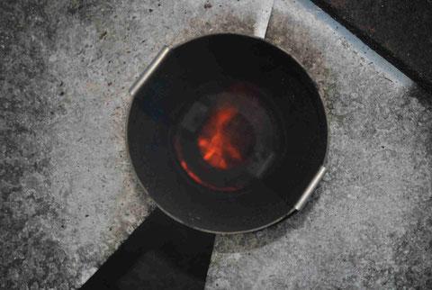 Draufsicht Düseneinsatz bei abgenommenem Tonnendeckel (Warmlaufphase!)