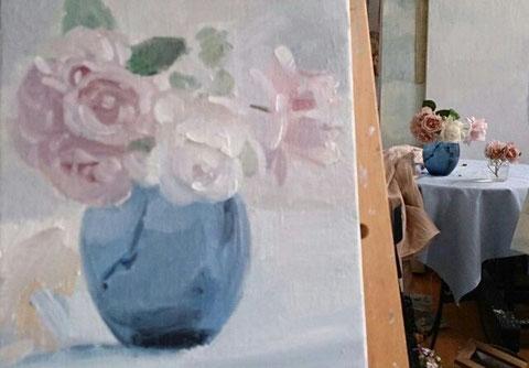 庭のバラ 3号 油彩(描画1日目です)
