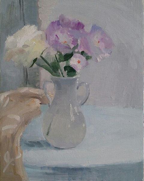 卓上のバラ 6号 油彩 9割方仕上がる。後は透明な絵具をかけて終わりかな。