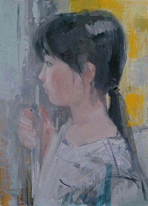 同じような絵をつぶして今日描きはじめた娘の横顔です。4号油彩 まだ2割かな?