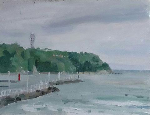 江の島、お天気は大荒れで砂だらけの絵になりました。6号の油彩です。