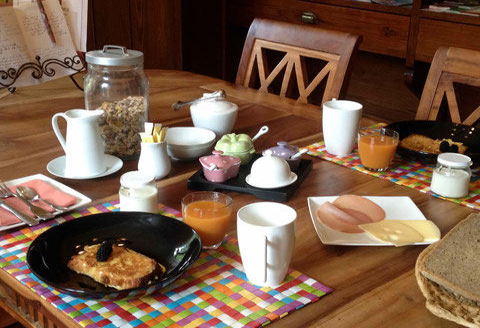Petit déjeuner au Domaine de Joreau, chambres d'hôtes à Gennes, Saumur, Val de Loire