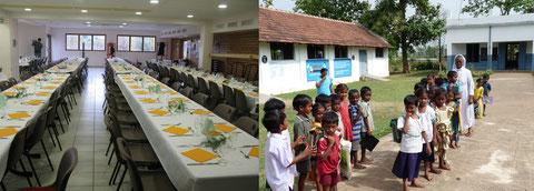 La salle du repas à Marcellaz & L'école de Prathipadu