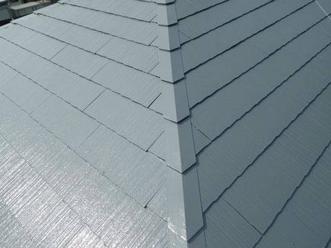 熊本Y様家のスレート コロニアル屋根の塗り替え上から撮影。グレーカラー