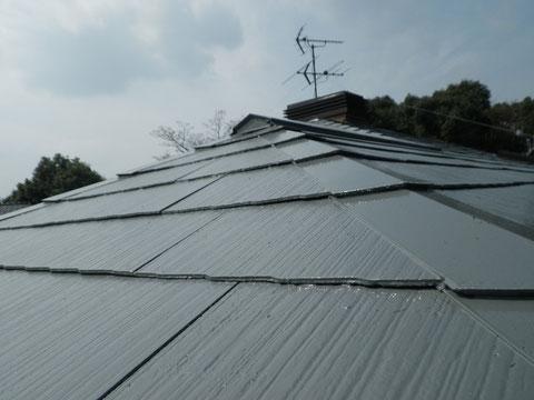 熊本Y様家のスレート コロニアル屋根塗装接写撮影。ピカピカです。