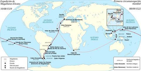 Mapa del primer viaje de circunnavegación mundial (10 de agosto de 1519 - 8 de septiembre de 1522) /  Magellan_Elcano_Circumnavigation-fr.svg