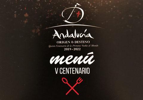 Cartel promocional del menú andaluz en memoria al V Centenario de la vuelta al mundo/Turismo de Andalucía
