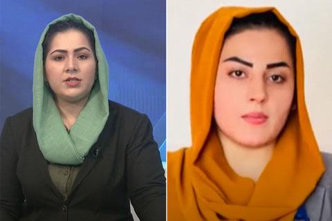 Las presentadoras de le televisión afgana Khadija Amin y Shabnam Dawran fueron despedidas de sus puestos de trabajo, al iniciarse el control talibán sobre medios de comunicación tras la captura del poder. Imagen: captura de vídeo/CPJ