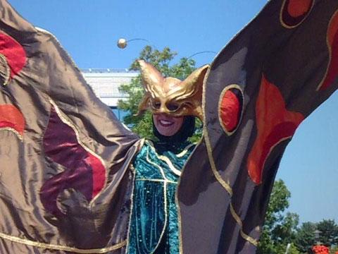 Stelzenduo Fantasy auf dem LAGAfest in Gronau, Foto: Werner Klöpper