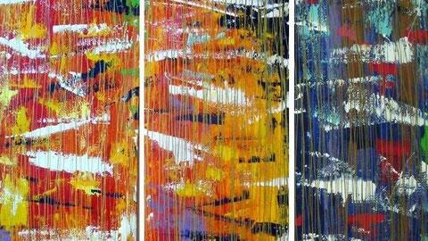 alle porte del paradiso (particolare) - 2002 - trittico 150x150 - smalti al nitro su tela