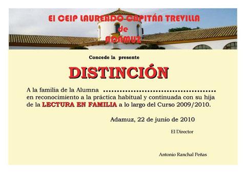 """Diploma de reconocimiento a las familias de su compromiso con el Proyecto """"LEER EN FAMILIA"""""""