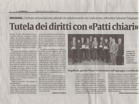 NICOSIA-Costituita un'associazione culturale che collabora anche con i clubs service, referente è Salvatore Timpanaro- TUTELA DEI DIRITTI CON <<PATTI CHIARI>> -La Sicilia, 8 dicembre 2010