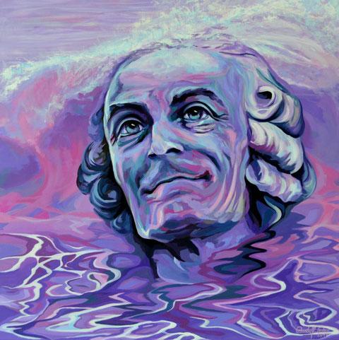 Voltaire, moderne Porträrtmalerei in Acryl auf Leinwand.