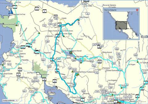 Tourenweg von Canon Negra über den  NP Tenorio nach Monteverde
