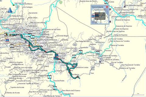 Reiseroute zwischen Alajuela und Orosi inkl. Motorradfahrt um den See.