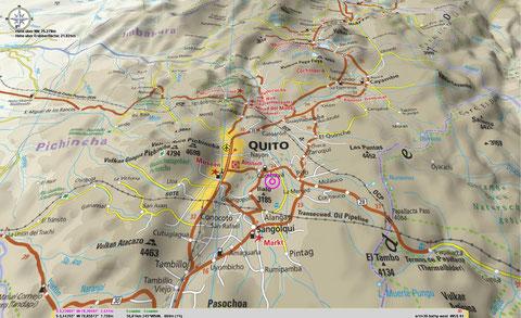 Bitmapkarte von Quito/Ecuador im Maßstab 1:650 000