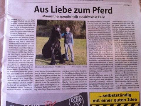 Parsival & Ich in der Zeitung Lausitz Echo