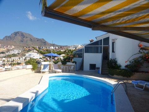 Ferienhaus in Alleinlage in Las Amerikas , San Eugenio mit Terrasse und Meerblick auf Teneriffa , ideal für Familienurlaub