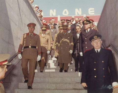Acceso de autoridades por la estación de Alfonso XIII a la inauguración del tramo. 26 de marzo de 1973. Foto Metro de Madrid.