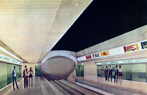 Boceto de la decoración prevista para las nuevas estaciones. Colección César Mohedas.