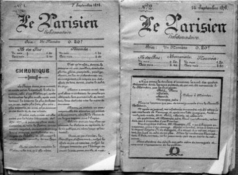 LE PARISIEN HEBDOMADAIRE (Première page de chacun des deux premiers numéros, septembre 1878)