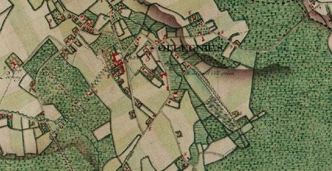 Ollignies sur la carte de Ferraris, 1777. Notez les grands bois entre Ollignies et Ghislenghien.