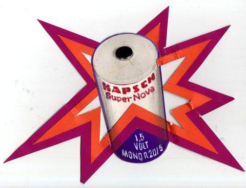 "Pop Art Werbung. Kapsch Batterie ""Super Nova"" Entwurf von Heinz Traimer 1972."