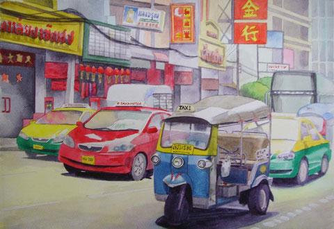 中華街とトゥクトゥク。 Size 360 x 250 mm