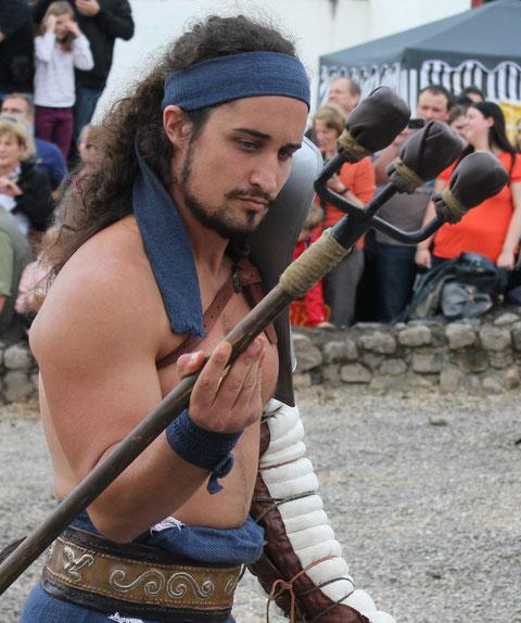Gladiator,  Römerfest Hechingen-Stein, Römisches Freilichtmuseum Hechingen-Stein, 16.08.2014., Canon EOS 550d. Foto: Eleonore Schindler von Wallenstern.