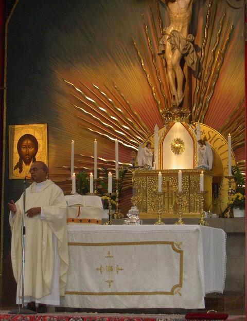Pater Joseph Bill/Father Joseph Bill, Wallfahrtskirche/Pilgrimage church Wigratzbad (Allgäu), Germany, 01.08.2004, Konica. Foto: Eleonore Schindler von Wallenstern.