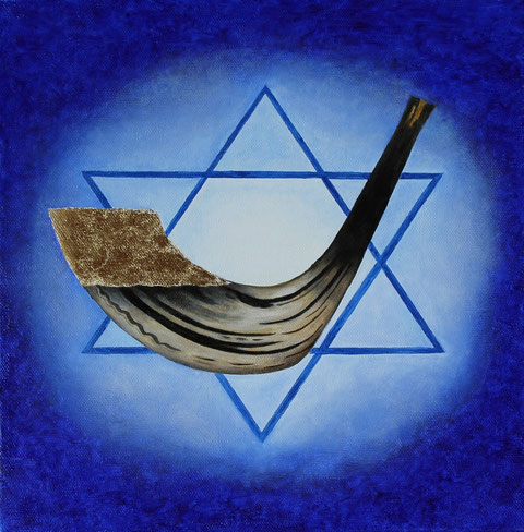 Golden Shofar/Schofar schel zahav, Öl und Blattgold auf Leinwand/Oil and gold-leaf on canvas, 30 x 30 cm
