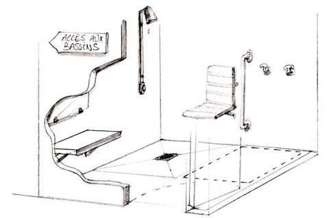 best dimension douche handicap erp plan salle de bain handicape with plan douche pmr. Black Bedroom Furniture Sets. Home Design Ideas