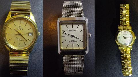 買取した時計(左からラドー・テクノス・ニナ リッチ)